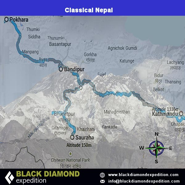 Route Map for Classical Nepal   Black Diamond Expedition