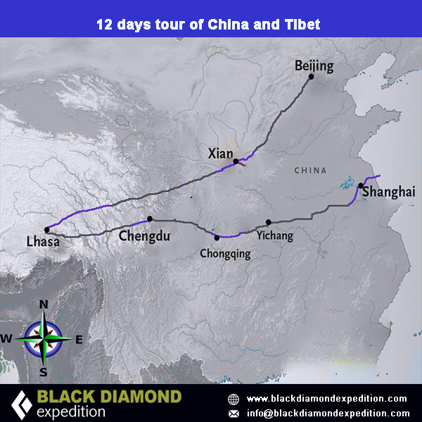 Route Map for 12 days tour of China and Tibet | Black Diamond Expedition