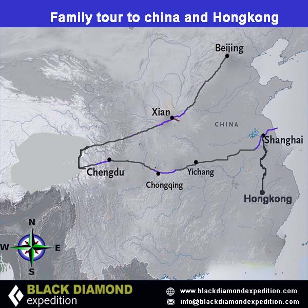 Route Map for Family Tour to China & Hong Kong | Black Diamond Expedition