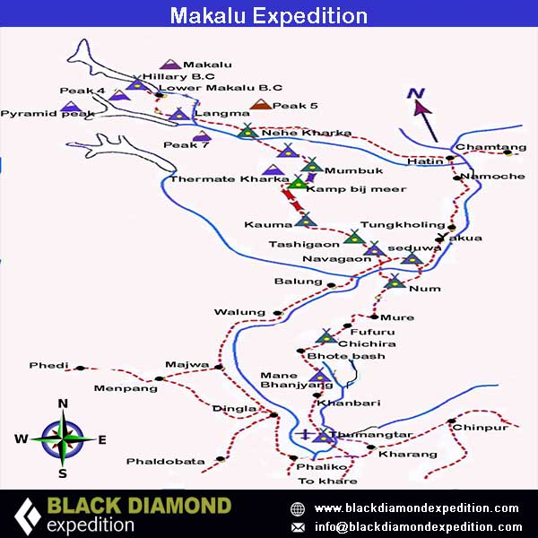 Route Map for Makalu Expedition   Black Diamond Expedition