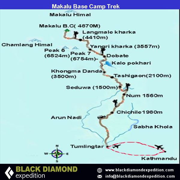 Route Map for Makalu Base Camp Trek | Black Diamond Expedition