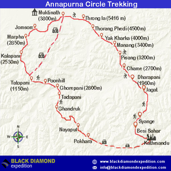 Route Map for Annapurna Circle Trekking | Black Diamond Expedition