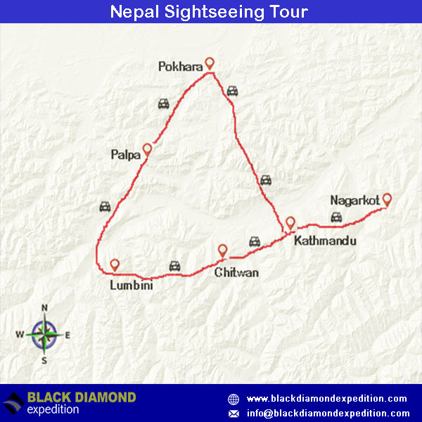 Route Map for Nepal Sightseeing Tour | Black Diamond Expedition