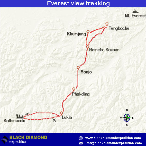 Route Map for Everest View Trekking | Black Diamond Expedition