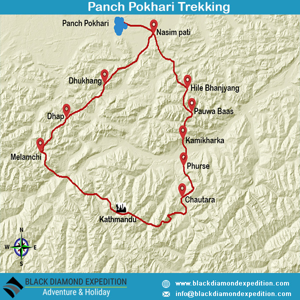 Route Map for Panch Pokhari Trekking  | Black Diamond Expedition