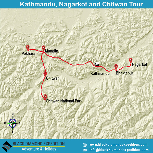 Route Map for Kathmandu Nagarkot Chitwan Tour | Black Diamond Expedition
