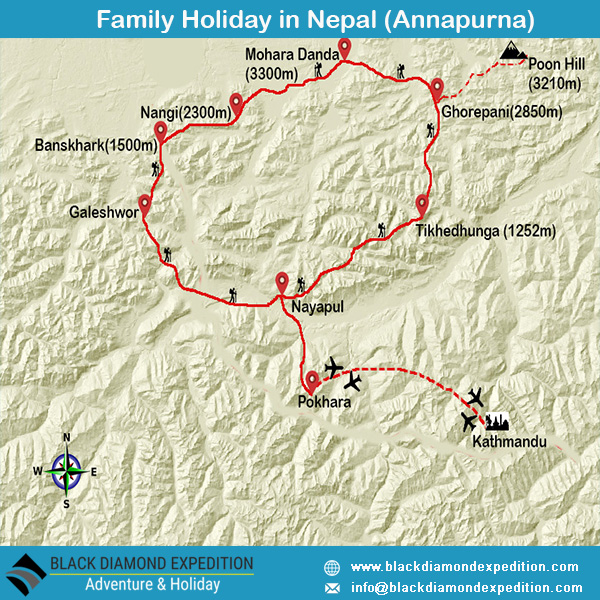 Route Map for Family Holiday in Nepal (Annapurna)  | Black Diamond Expedition
