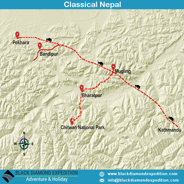 Route Map for Classical Nepal | Black Diamond Expedition