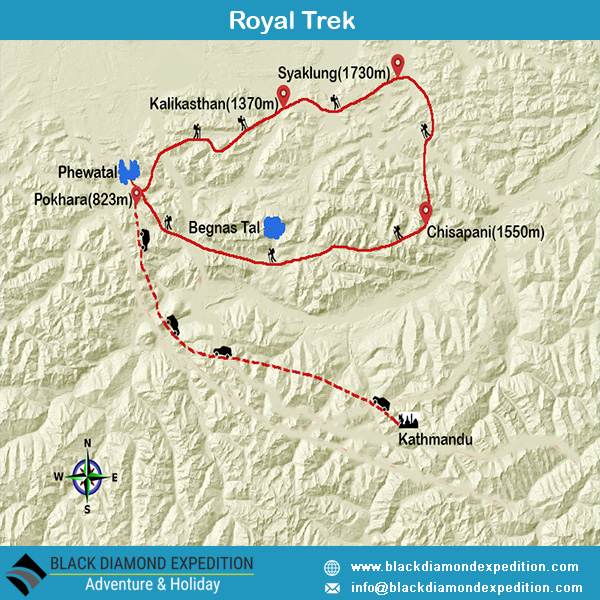 Route Map for Royal Trek | Black Diamond Expedition