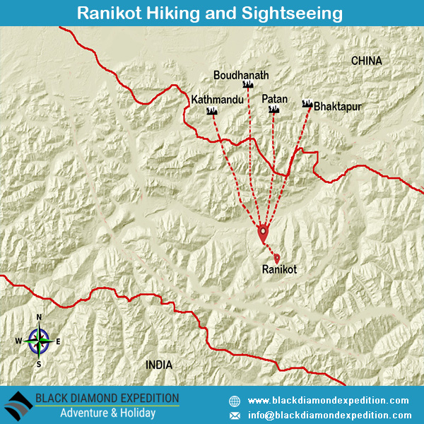 Route Map for Ranikot Hiking & sightseeing | Black Diamond Expedition