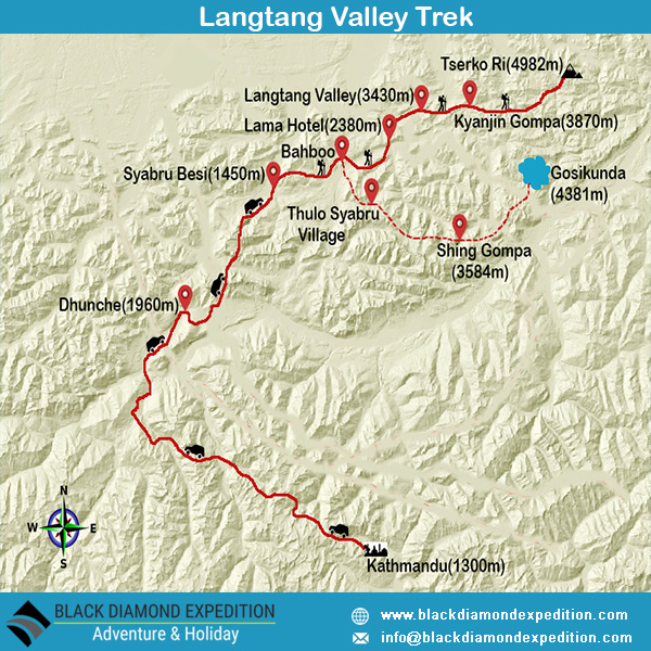 Route Map for Langtang Valley Trek | Black Diamond Expedition