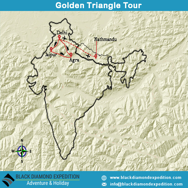 Route Map for Golden Triangle Tour | Black Diamond Expedition