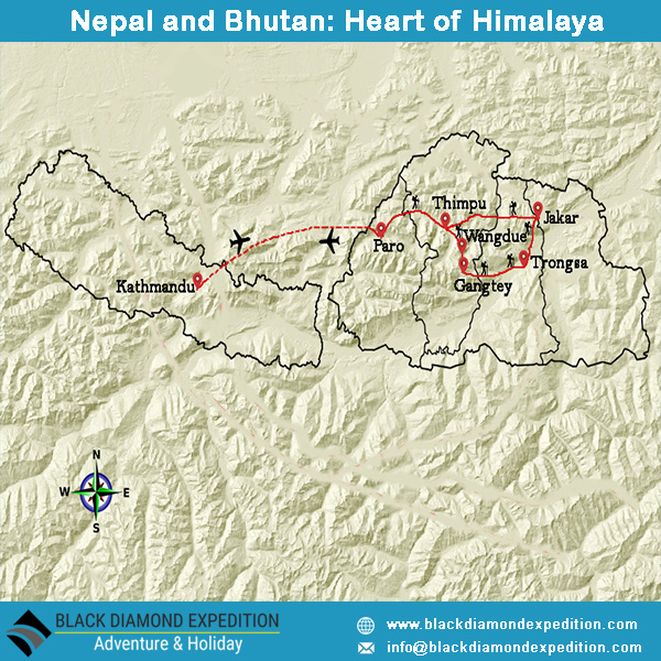 Route Map for Nepal and Bhutan: Heart of Himalaya | Black Diamond Expedition
