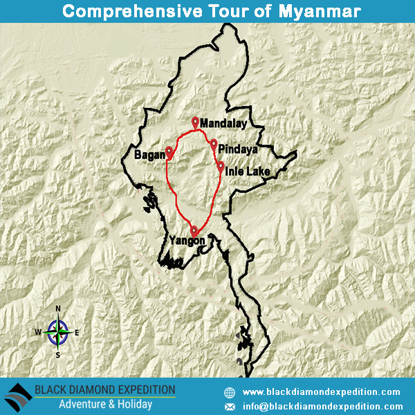Route Map for Comprehensive Tour of Myanmar | Black Diamond Expedition