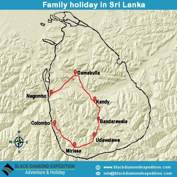 Route Map for Family Holiday  in Sri Lanka | Black Diamond Expedition